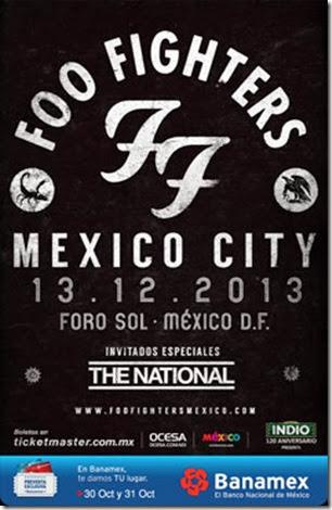 foo fighters poster presentacion concierto en mexico en foro sol venta de boletos