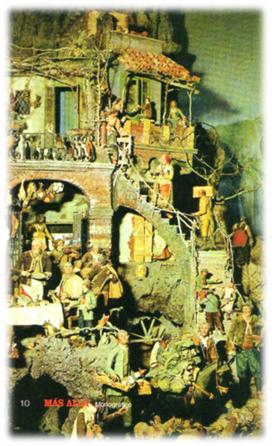 Detalle de un belén napolitano del siglo XVIII