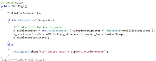 WP7.1 Demo - Accelerometer - Create Instance