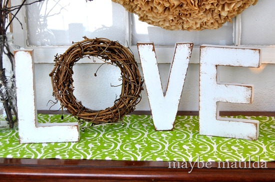 Rustic 'love' Valentine display by Maybe Matilda