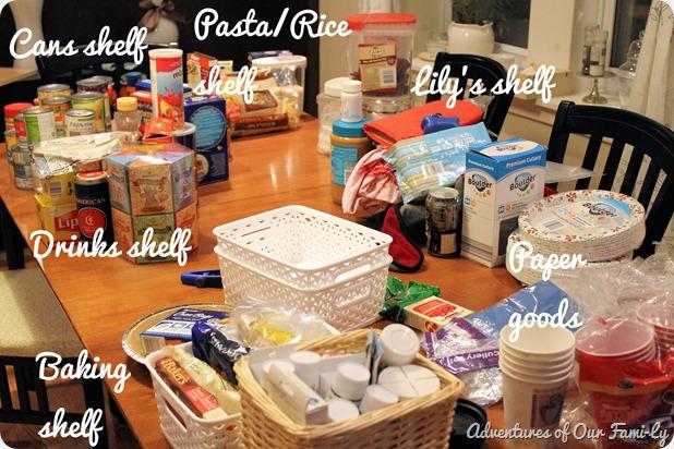 kitchen organization shelf sections