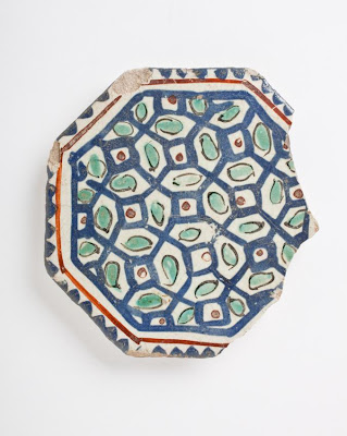 Tile | Origin: Iran | Period:  late 12th-early 13th century | Collection: The Madina Collection of Islamic Art, gift of Camilla Chandler Frost (M.2002.1.177) | Type: Ceramic; Architectural element, Fritware, stain- and overglaze-painted, Point to point: 3 15/16 in. (10 cm)