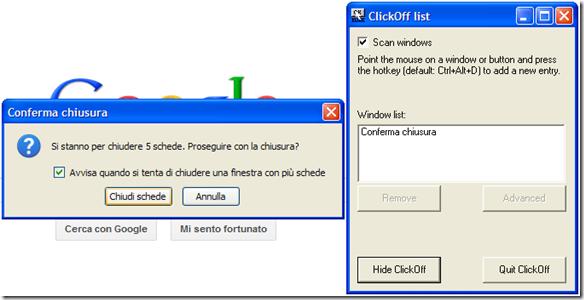 ClickOff configurare il clic automatico