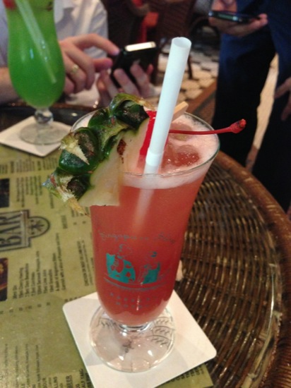 A Singapore sling at Raffle - these days they come premixed - expensive, but has to be done?