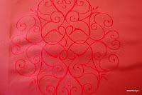 """Luksusowa trudnopalna tkanina z haftem. """"Tafta"""" butikowa. Na zasłony, poduszki, narzuty, dekoracje. Czerwona."""