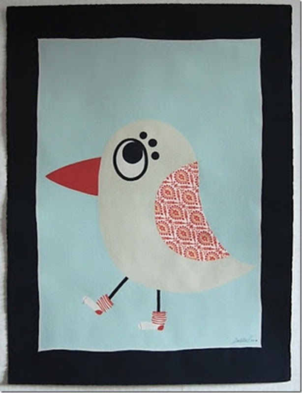 Charlotta Ward Art & Design - 'Ian's Big Bird with Orange Stripy Socks'