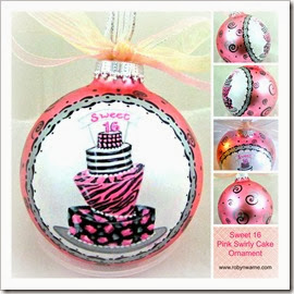 Pink Sweet Sixteen Cake Ornament