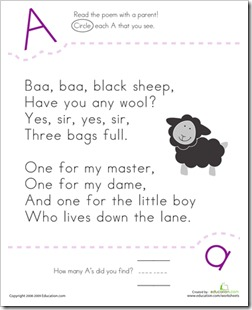 Letter A Baa Baa Black Sheep
