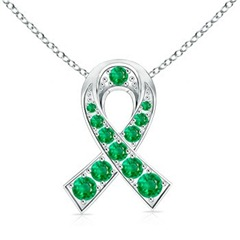 Round Emerald Ribbon of Hope Pendant in 14k White Gold