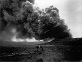Man with a horse at Bromo during an eruption (unknown photographer, 1920) Courtesy TropenMuseum Archive