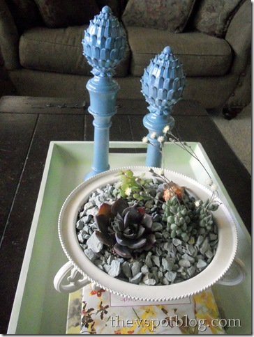 turquoise, finials, candlesticks, white, bowl, succulents