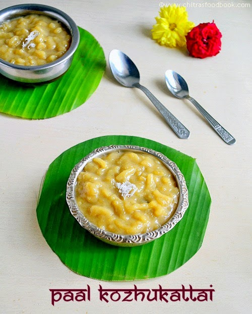 Paal kozhukattai with jaggery and coconut milk