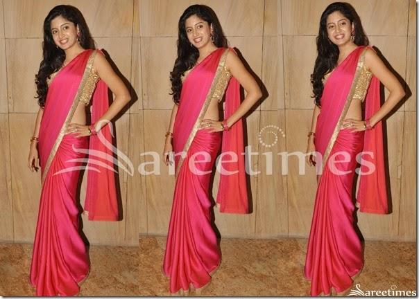 Poonam_Kaur_Pink_Plain_Saree