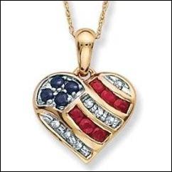 Patriotic US Heart Shape Jewelry