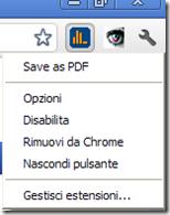 Opzioni di gestione estensioni Chrome