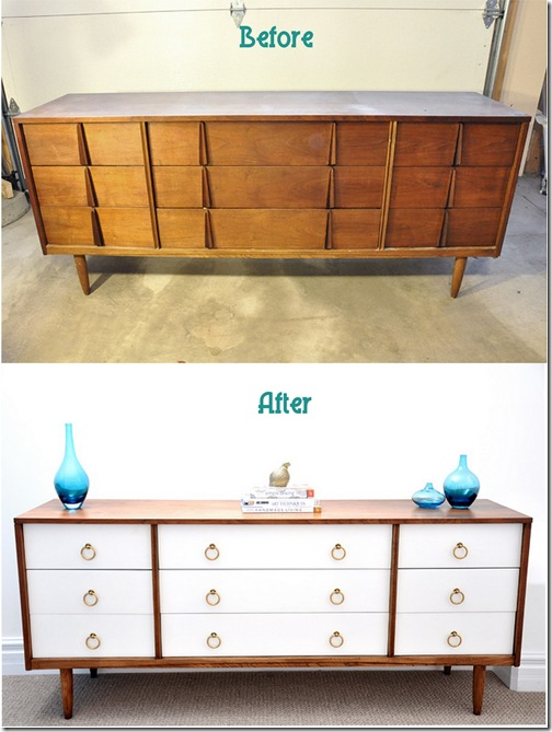Birdhouse MCM dresser before & after 070411
