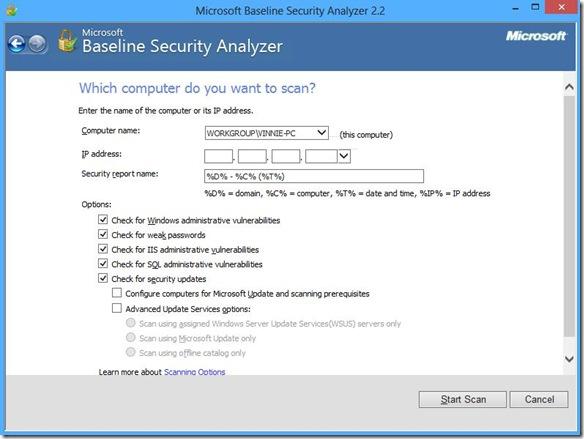 Microsoft Baseline Security Analyzer opzioni di scansione e avvio analisi