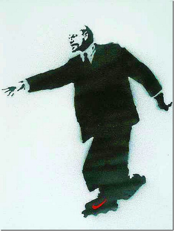 Banksy, Lenin on Rollerblades, 2003, spray paint stenciled on canvas