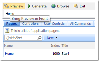 Clicking Bring Preview in Front in the Designer toolbar will bring the Preview window to focus.