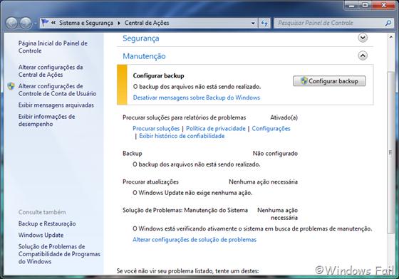 O backup do Windows não está sendo realizado