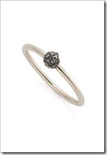 Anel com esfera de Ouro Nobre 18K com diamantes negros