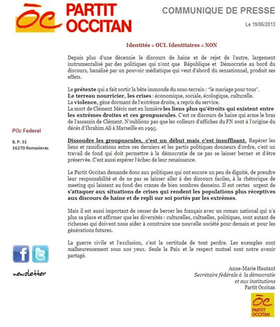 comunicat del Partit Occitan Identitat e identitari