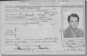 Henry Fonda's 1939 Brazilian immigration card