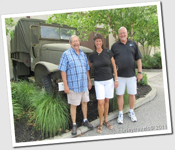 Jerry, Suzanne and Mike outside the 100th Bomber Brigade Restaurant.