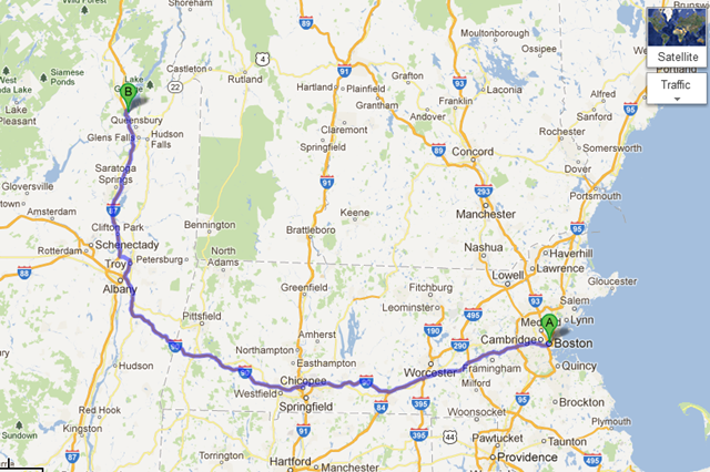 Boston, MA to Lake George, NY - Google Maps