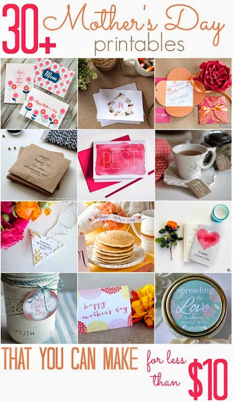 Over 30 Mother's Day Printables (that you can make for less than $10!) - All Cheap Crafts