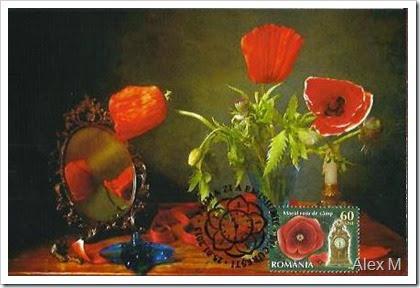Maci în vază; Obl. SPZ, Bucureşti 25.01.2013 < Poppies in vase; Bucharest First Day stampmark 25.01.2013 ><br />poppies in vase