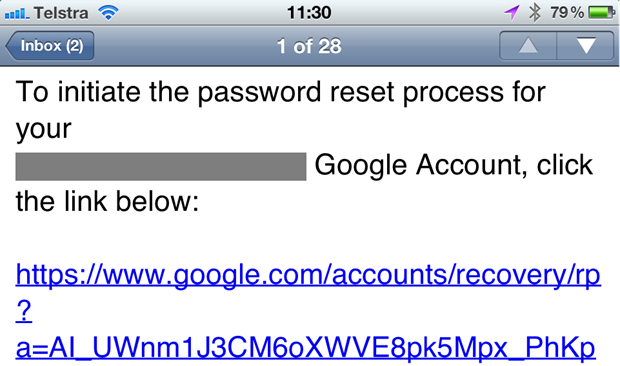 Email from Google to begin a 2FA password reset