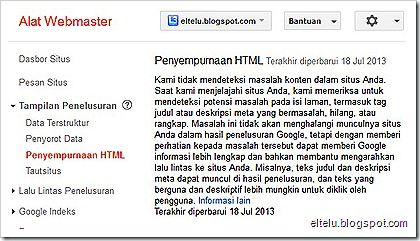 Laman Penyempurnaan HTML Alat Webmaster Google