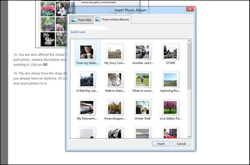 Adding an online album from SkyDrive