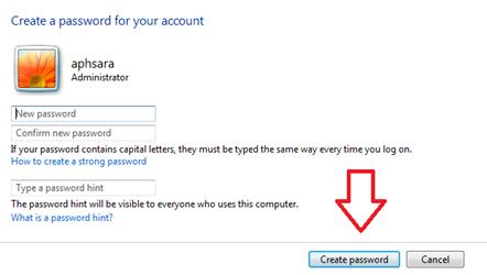 การสร้างรหัสผ่านให้คอมพิวเตอร์ windows 7