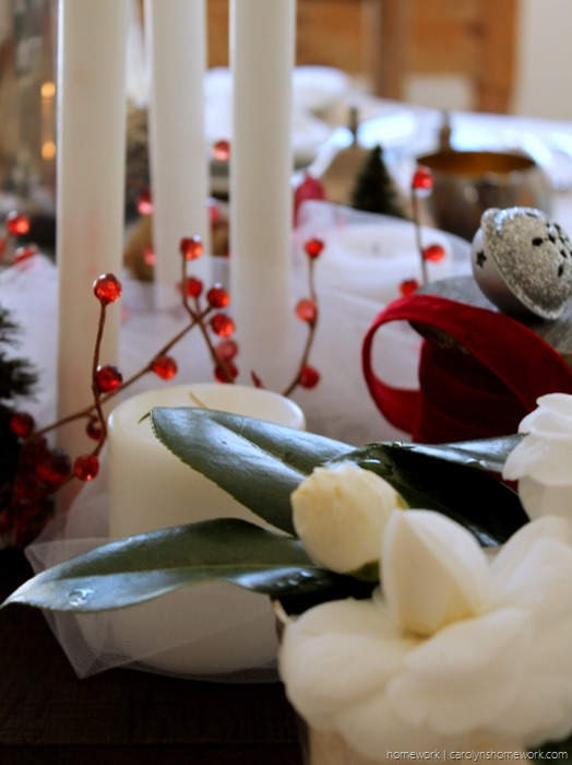 Red Velvet & White Tulle Holiday Tablescape via homework - carolynshomework (2)