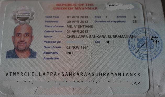 Myanmar Visa from Vientiane, Laos