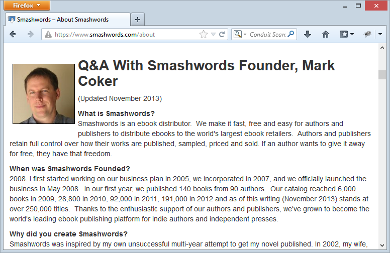Smashwords in FireFox with a security warning