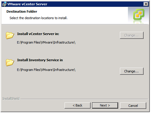 VMware vCenter Server Installer - Destination Folder