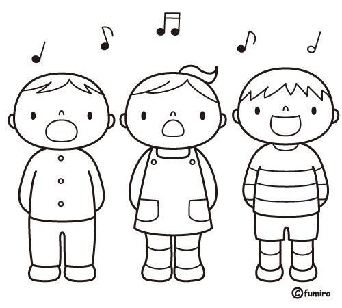 Dibujo Para Colorear De Ninos Cantando