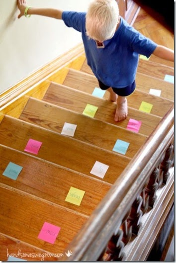 Sight Word activity! Kids will love this clever activity to practice sight words on the stairs! Perfect for Preschool, Kindergarten, 1st grade, and 2nd grade kids.