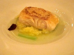 Black cod with celery sauce and curry crust