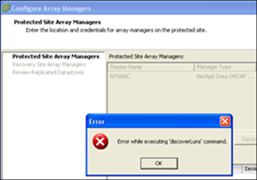 VMware Site Recovery Manager – Error while executing 'DiscoverLuns' command.