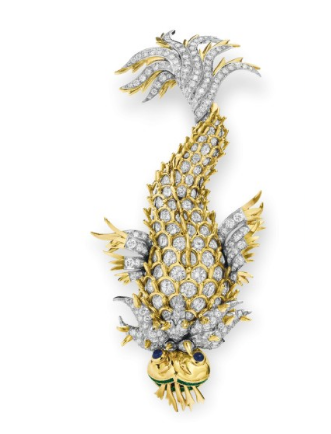 """The Night of the Iguana Brooch"" A Diamond and Multi‐Gem Brooch by Jean Schlumberger, Tiffany & Co., circa 1964 Gift from Richard Burton upon the occasion of the premiere of the film Night of the Iguana August 11, 1964 Estimate: $200,000-$300,000"
