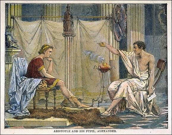 Alexander_and_Aristotle Aristóteles ensinando Alexandre, o Grande gravura de Charles Laplante