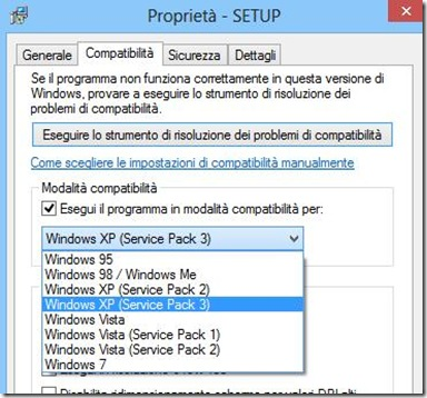 Modalità compatibilità Windows 8