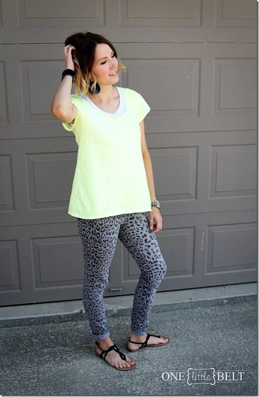 neon tee, grey leopard print pants