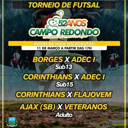 Futsal - 53 anos Campo Redondo - emancipação - FLAJOVEM - RDA - futsal - ADEC - CORINTHIANS- AJAX - VETERANOS - BORGES - wesportes