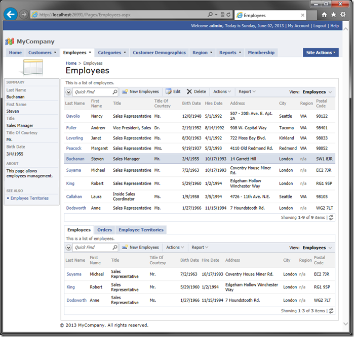 Employees page with standard page layout.