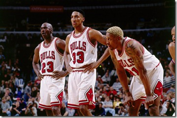 Michael Jordan, Scottie Pippen and Dennis Rodman of the Chicago Bulls in Chicago, 1997